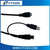 Y type USB cable, USB AM to AM +USB MICRO 5PIN cable