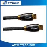 HDMI M TO M cable Metal casing type Oval type Chromium metal casing outer mold, shell color Silver、Brown、Gold for choic